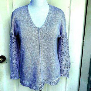 Lucky Brand lavender cotton blend v-neck sweater